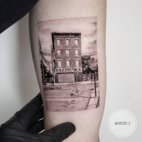 Tattoo by Goldy Z #GoldyZ #detailedtattoos #detailed #intricate #sandwich #defontes #Brooklyn #landscape #NYC #building #architecture