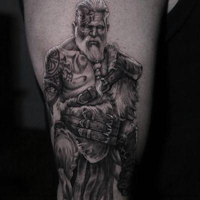 Tattoo by Stefano Alcantara #StefanoAlcantara #detailedtattoos #detailed #intricate #portrait #realism #realistic #Viking #portrait