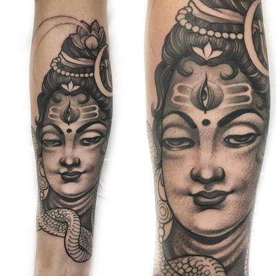 Tattoo by Delia Vico #DeliaVico #Buddhisttattoos #Buddhist #Buddha #meditation #mindfulness #peace #love #compassion #thirdeye #portrait #lotus #snake #reptile #Hindu #mahayana