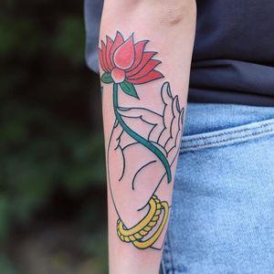 Tattoo by Patryk Hilton #PatrykHilton #Buddhisttattoos #Buddhist #Buddha #meditation #mindfulness #peace #love #compassion #mudra #hand #lotus #flower
