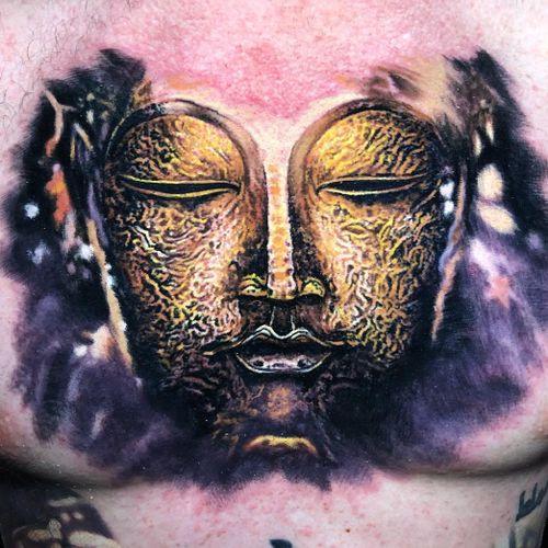 Tattoo by Steve Butcher #SteveButcher #Buddhisttattoos #Buddhist #Buddha #meditation #mindfulness #peace #love #compassion #gold #sculpture #painterly #portrait
