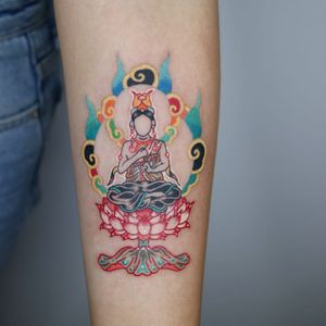 Tattoo by Pitta Kkm #Pittakkm #Buddhisttattoos #Buddhist #Buddha #meditation #mindfulness #peace #love #compassion #illustrative #color #lotus #portrait #cloud #mudra