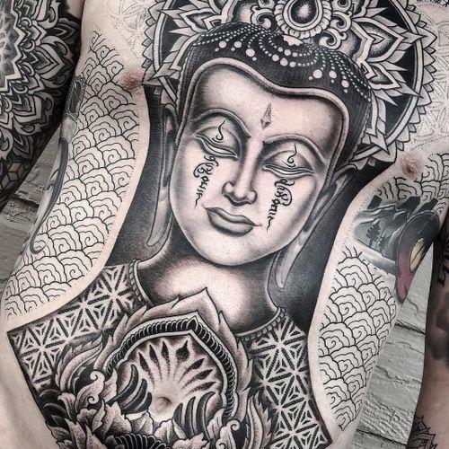 Tattoo by Aries Rhysing #AriesRhysing #Buddhisttattoos #Buddhist #Buddha #meditation #mindfulness #peace #love #mandala #pattern #ornamental #unalome #sacredgeometry #dotwork #portrait #blackandgrey #compassion