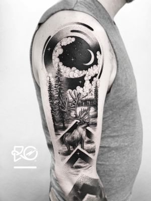 By RO. Robert Pavez • Soft Night 🌙 • Done in studio ZOI TATTOO • Stockholm 🇸🇪 2018 #engraving #dotwork #etching #dot #linework #geometric #ro #blackwork #blackworktattoo #blackandgrey #black #tattoo #fineline