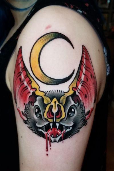 #bat #bathead #traditional #AmericanTraditional #neotraditional #neotrad #trad #moon #blood
