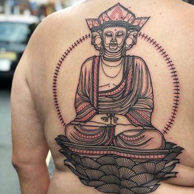 Tattoo by Loz Thomas #LozThomas #Buddhisttattoos #Buddhist #Buddha #meditation #mindfulness #peace #love #compassion #illustrative #lotus #light #thirdeye #backpiece #linework