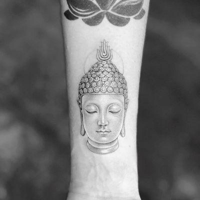 Tattoo by Mr K #MrK #Buddhisttattoos #Buddhist #Buddha #meditation #mindfulness #peace #love #compassion #fineline #detailed #intricate #blackandgrey #portrait
