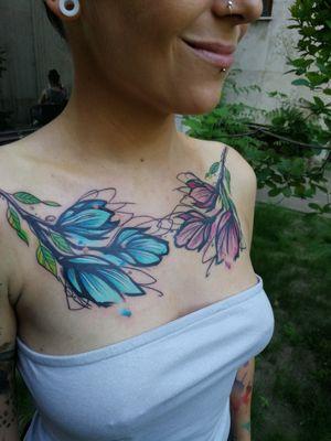 #watercolortattoos #inkedgirl #flowertattoo #flowers