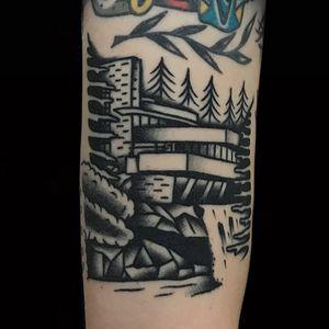 Tattoo by Alex Zampirri aka AZamp #AlexZampirri #AZamp #architecturetattoos #architecture #building #house #FallingWater #FrankLloydWright #blackandgrey #traditional #forest #water