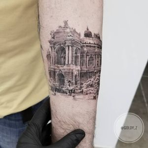 Tattoo by Goldy Z #GoldyZ #architecturetattoos #architecture #building #house #winter #snow #trees #detailed #intricate #mansion #castle