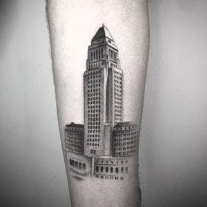 Tattoo by Nathan Kostechko #NathanKostechko #architecturetattoos #architecture #building #house #illustrative #blackwork #linework #fineline