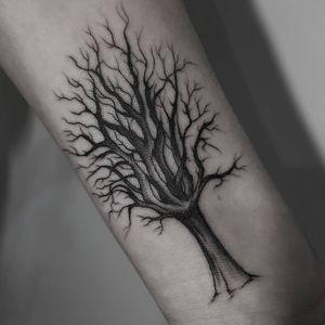 #tree #blackwork #fineline #wristattoo #winter