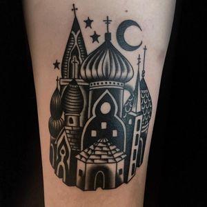 Tattoo by Austin Maples #AustinMaples #architecturetattoos #architecture #building #house #castle #stars #landscape #traditional #blackwork #moon