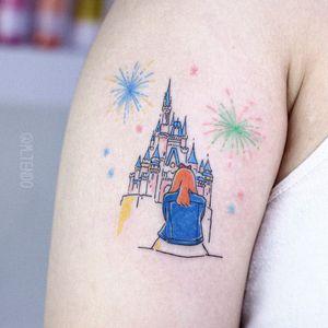 Tattoo by M Tendo #MTendo #architecturetattoos #architecture #building #house #Disney #castle #girl #portrait #fireworks #linework #illustrative #color #watercolor