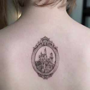 Tattoo by Sol Tattoo #SolTattoo #architecturetattoos #architecture #building #house #detailed #intricate #mansion #castle #frame #filigree #illustrative