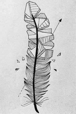 Blackwork feather in fineliner