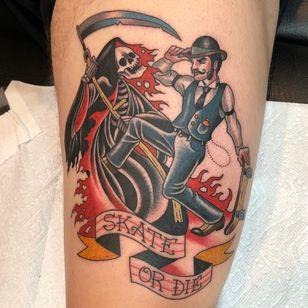Tattoo by Darcy Nutt #DarcyNutt #skateboardingtattoos #skatetattoos #skateboarding #skateboard #skateordie #thrasher #reaper #banner #skeleton #skull #gentleman #scythe