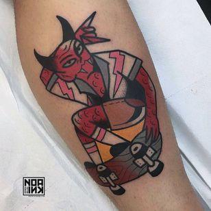 Tattoo by Ian Tattooing #IanTattooing #skateboardingtattoos #skatetattoos #skateboarding #skateboard #skateordie #thrasher #satan #devil #hell #lighteningbolt