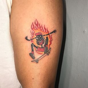 Tattoo by Mick Hee #MickHee#skateboardingtattoos #skatetattoos #skateboarding #skateboard #skateordie #thrasher #illustrative #skeleton #skull #fire #death