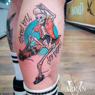 Tattoo by Arran V #ArranV #skateboardingtattoos #skatetattoos #skateboarding #skateboard #skateordie #thrasher #skeleton #skull #lettering