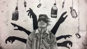 A2 mixed media piece based on mental illness inspired by Christopher Jackson in watercolour, fineliner and acrylic.