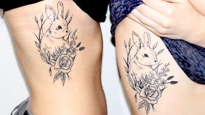 Cassegrains ❤️ #lapin #rabbit #rabbittattoo #bunny #bunnytattoo #sister #sisters #sistertattoos #sistertattoo