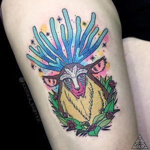 Tattoo by Mika Baby #MikaBaby #StudioGhiblitattoo #StudioGhibli #anime #manga #cartoon #newschool #movietattoo #filmtattoo #PrincessMononoke #forestspirit #flowers #floral #magic #stars #color #portrait