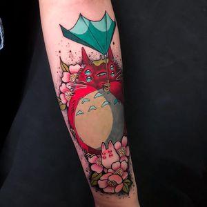 Tattoo by Igor Puente #IgorPuente #StudioGhiblitattoo #StudioGhibli #anime #manga #cartoon #newschool #movietattoo #filmtattoo #Totoro #forestspirit #umbrella #flowers #floral #cherryblossoms #surreal #strange