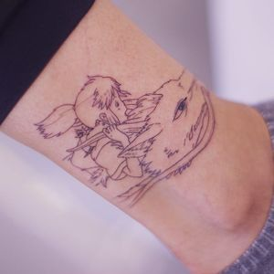 Tattoo by Seoneon #Seoneon #StudioGhiblitattoo #StudioGhibli #anime #manga #cartoon #newschool #movietattoo #filmtattoo #SpiritedAway #Haku #Chihiro #dragon #portrait #fineline #Linework #illustrative