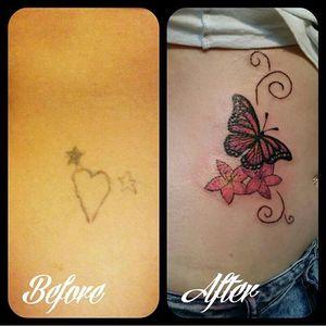 Cute little cover up I did years ago... #tattoodesign #tattoo #tattoostyle #tattooart #art #illustration #butterfly #coverup #girlytattoo #ilovetattooingbutterflies #simpletattoo #swirls #everafterart
