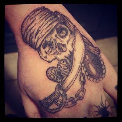 Pirate hand tattoo part one #pirate #skulltattoo #skull #sword #chains #jewel #tattooart #tattoostyle #blackandwhite #shading #tattoo #tattoodesign #handtattoo #eternalink #rotarymachinetattoo #art #illustration