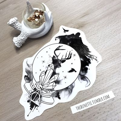 If you buy the Harry Potter Collection you can make your own Harry Potter Tattoo with the 59 designs components and 7 ready-to-use designs are included - this is one of them- www.skinque.com/tattoo/collections or for commissions hello@skinque.com #harrypotter #harrypottertattoo #abstract #dementor #deer #deertattoo #crystal #watercolor #watercolortattoo #watercolortattoos #watercolour #watercolorartist #raven