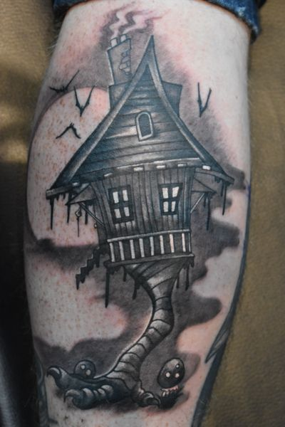 Witch Hut #horror #witch #witchhut #blackandgrey #spooky #halloween