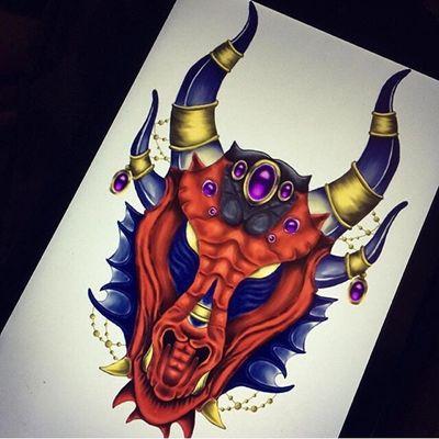 #flashbackfriday to this awesome dragon that I drew as part of a tattoo sleeve for a client of mine ❤️ #fbf #latenightdrawing #dragon #tattoo #tattooart #tattoodesign #tattoostyle #art #artwork #digital #digitalart #illustration #worldofwarcraft #wow #alextrasza #fanart #armour #horns #everafterart #fantasy #colour #horns #gem #gemstones #symmetry #red #autodesksketchbook #reddragon