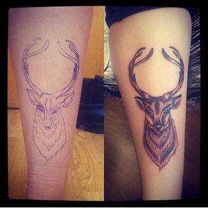 #stag that I tattooed a year ago ❤️ #tattoo #tattooart #tattoostyle #tattoodesign #horns #antlers #blackandwhite #shading #legtattoo #dotwork #tribal #eternalink #liner #rotarymachine #rotarymachinetattoo #everafterart