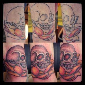 Touch up/ rework of an unfinished tattoo I did #skull #lotus #glowingeyes #blackandwhite #shading #tattooart #tattoostyle #tattoo #tattoodesign #everafterart #redeyes #skulltattoo #eternalink #rework #touchup #rotarymachinetattoo #liner #highlights