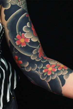 Tattoo by Sergey Buslay #SergeyBuslay #tattoodoambassador #Japanese #irezumi #color #cherryblossom #flower #floral #nature