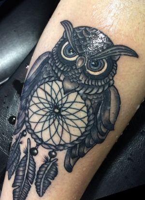 #owl #dreamcatcher #tattoo #blackandgrey #nogreywash #dynamicink #cheyennehawk