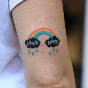 Tattoo by Zzizzi #Zzizzi #tinytattoo #tiny #smalltattoo #small #rainbow #text #love #hate #rain #cloud #handpoke
