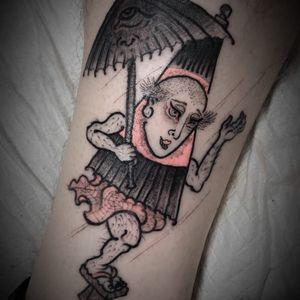 Tattoo by Ganji #Ganji #BangGanji #favoritetattoos #favorite #best #cool #Japanese #yokai #kasaobake #umbrella #funny #spiderweb #ghost #demon #monster