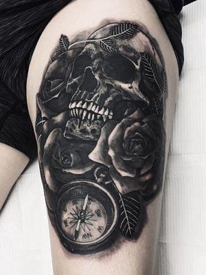 My favorite subjects. #skull #skulltattoo #rose #rosetattoo #realism #realistictattoo #blackandgrey #blackandgreytattoo #girlswithtattoos #knoxville #knoxvilletattoo