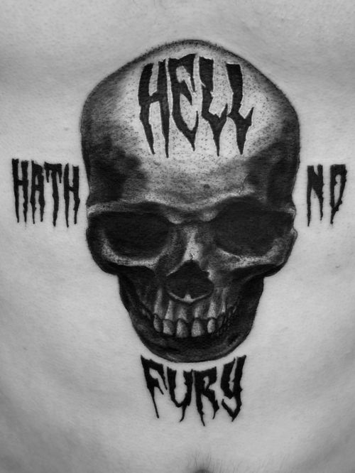 Dark skull on a torso. #skull #skulltattoo #lettering #letteringtattoo #realism #realistictattoo #blackandgrey #blackandgreytattoo #guyswithtattoos #knoxville #knoxvilletattoo