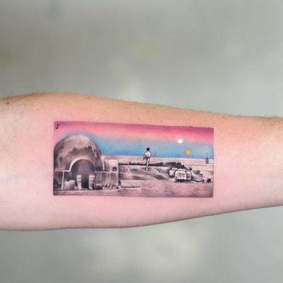 Tattoo by Jefree Naderali #JefreeNaderali #favoritetattoos #favorite #best #cool #filmstill #film #Movie #movietattoo #StarWars #sunset #landscape