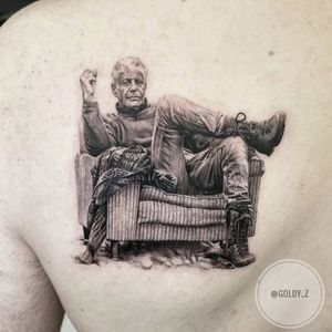 Tattoo by Goldy Z #GoldyZ #favoritetattoos #favorite #best #cool #AnthonyBourdain #portrait #blackandgrey #chef #travel #armchair #realistic #realism