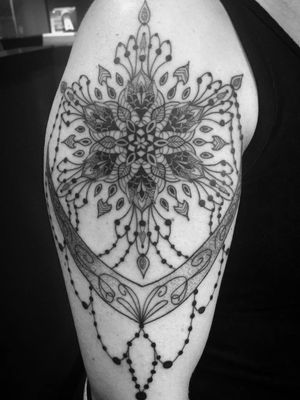 Ornamental piece based off a necklace she liked. #mandala #mandalatattoo #ornamental #ornamentaltattoo #blackwork #blackworktattoo #girlswithtattoos #knoxville #knoxvilletattoo