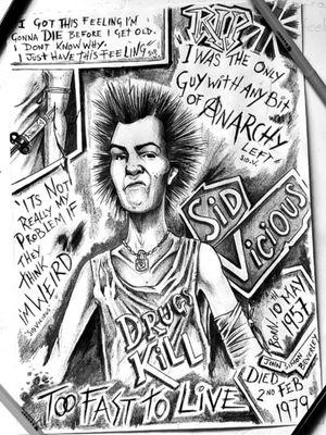 Sid vicious cartoon sketch by Sean at www.adventuretattoos.com #sidvicious #sketch #artwork #designs #designer #artist #drawing #drawings #cartoon #punkrock #punk