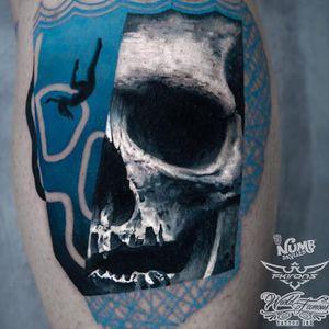 Tattoo by Chris Rigoni #ChrisRigoni #painterlytattoos #fineart #skull #death #underwater #abstract #mashup