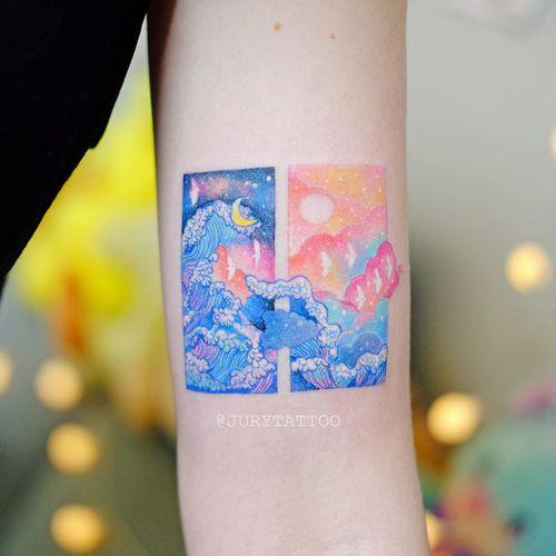 Tattoo by Jury Tattoo #JuryTattoo #painterlytattoos #fineart #illustration #wave #moon #sun #birds #sunset #ocean #color #watercolor #MarutiBitamin