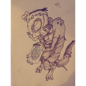 #skull #blackandgrey #draw #bones #arttattoo #tattoo #practice #oldschool #newschool #cap #dead #zombiedog #brains #braintatto #zombie #crazydog #model #unknownartist