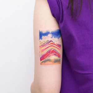 Tattoo by Dareum #Dareum #painterlytattoos #fineart #watercolor #color #abstract #Vinicunca #mountain #nature #landscape